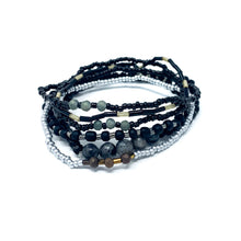 Load image into Gallery viewer, charming shark black beaded bracelet stack
