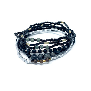 charming shark black beaded bracelet stack