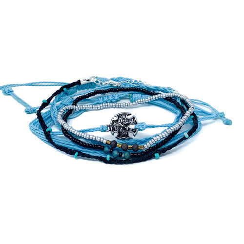 blue and black string beaded bracelet stack