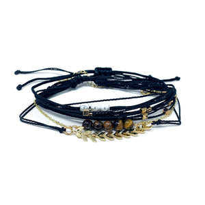 Charming Shark Black and Gold Bracelet Stack Pack to wear to the beach
