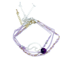 Load image into Gallery viewer, purple string and bead wave bracelet pack