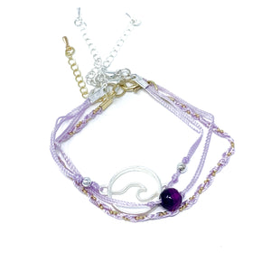 purple string and bead wave bracelet pack