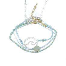 Load image into Gallery viewer, blue string and bead wave bracelet pack