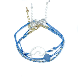 blue string and bead wave bracelet pack