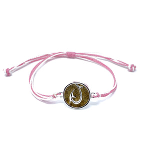 pink hook beach sand string bracelet
