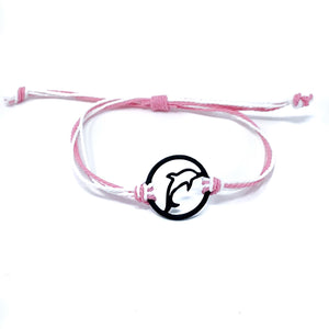 pink dolphin silhouette string bracelet