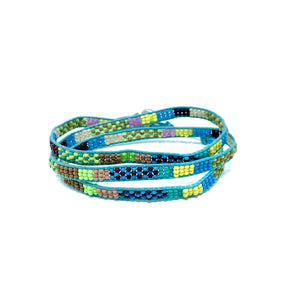 colorful beach style beaded triple wrap bracelet