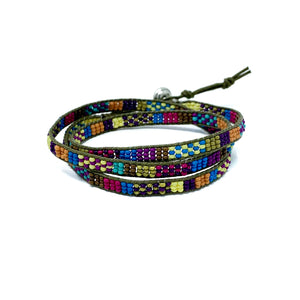 colorful beaded triple wrap bracelet