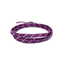 Load image into Gallery viewer, purple pink seed bead triple wrap beaded bracelet