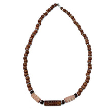 Load image into Gallery viewer, wood beaded mens surfer necklace