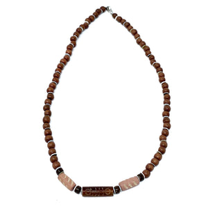 wood beaded mens surfer necklace