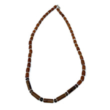 Load image into Gallery viewer, charming shark mens wood beaded surfer necklace