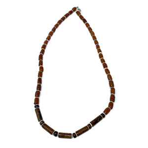 charming shark mens wood beaded surfer necklace
