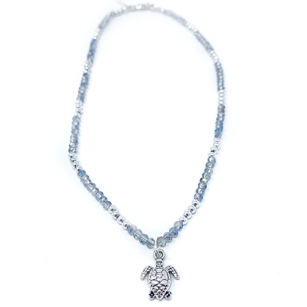 light blue beaded turtle necklace