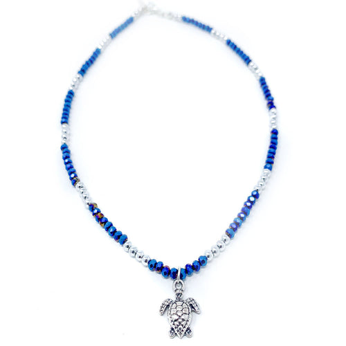 blue turtle beaded jewels necklace