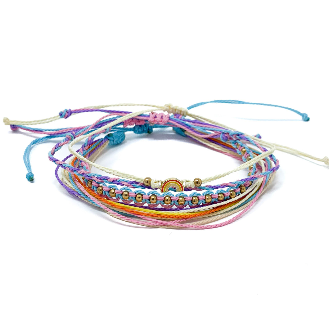 rainbow string bracelet stack