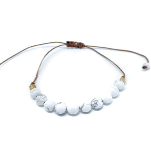 White Howlite Stone Beaded String Bracelet
