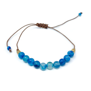 Blue Stone Beaded String Bracelet