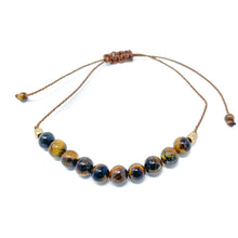 Load image into Gallery viewer, Tiger Eye Stone Beaded String Bracelet