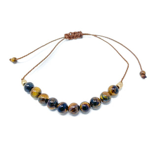 Tiger Eye Stone Beaded String Bracelet