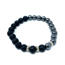 Load image into Gallery viewer, hematite lava beaded bracelet