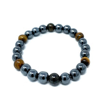 Load image into Gallery viewer, hematite tiger eye beaded bracelet