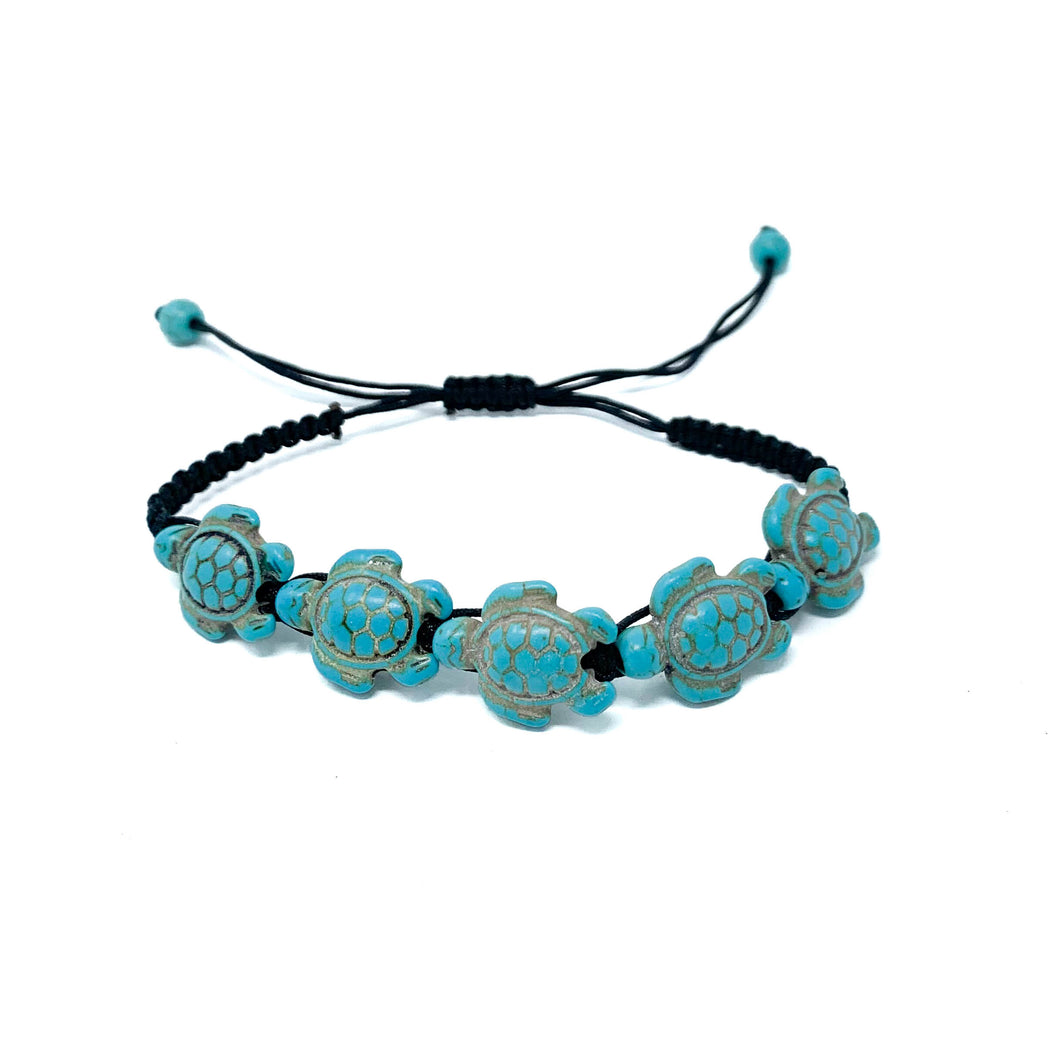 turquoise turtle beads braided bracelet