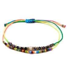 Load image into Gallery viewer, rainbow dainty cute girls seed bead string bracelet