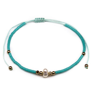 pearl turquoise beaded seed bead string bracelet
