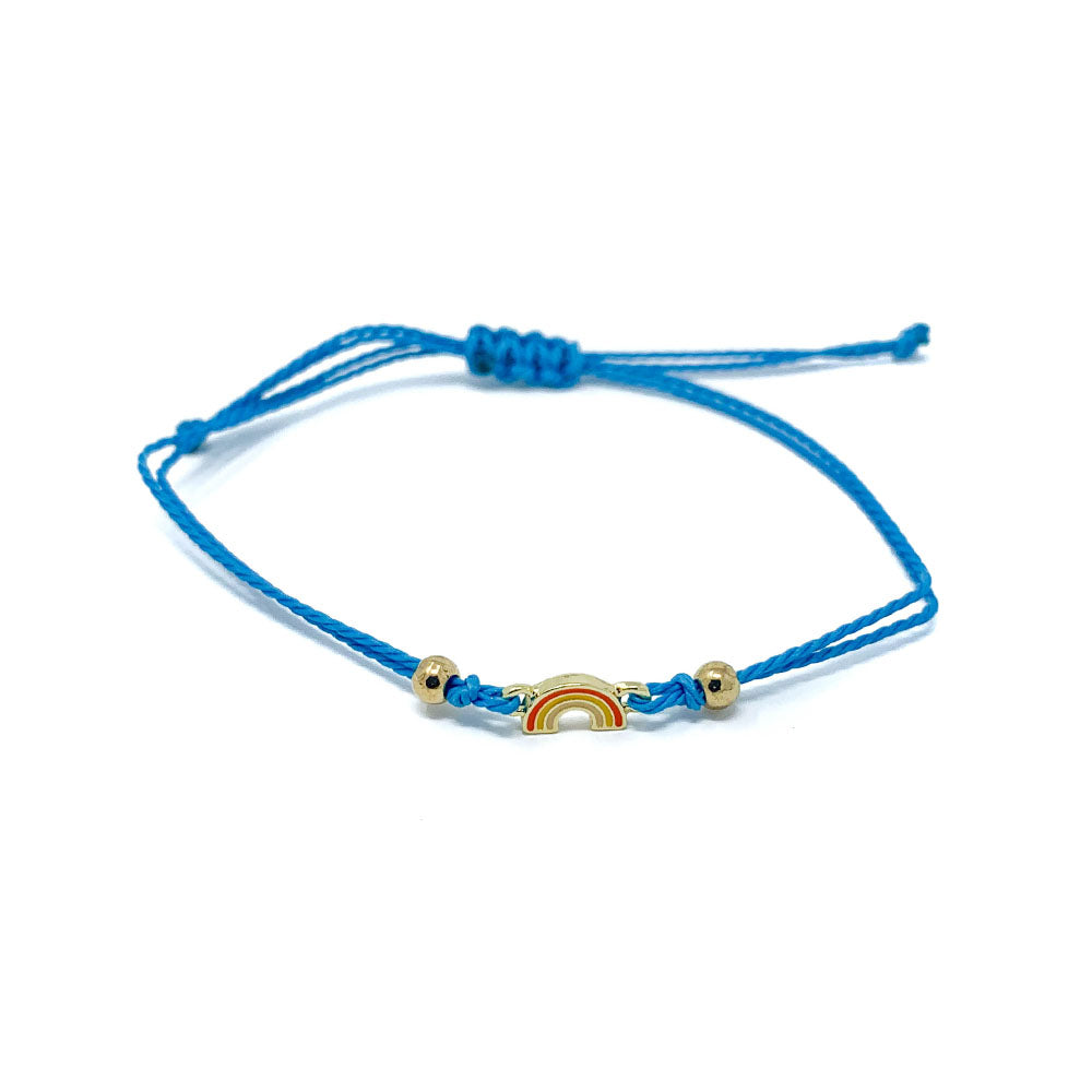 Blue Rainbow Charm Single String Bracelet