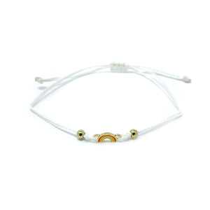 White Rainbow Charm Single String Bracelet