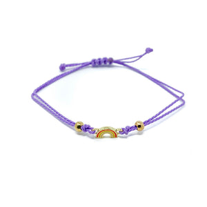 Purple Rainbow Charm Single String Bracelet