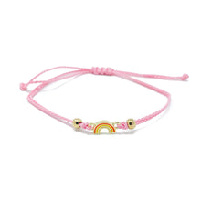 Load image into Gallery viewer, Pink Rainbow Charm Single String Bracelet