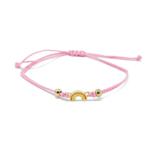 Pink Rainbow Charm Single String Bracelet