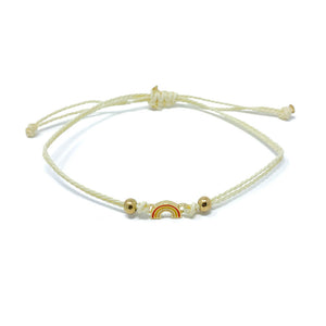 Yellow Rainbow Charm Single String Bracelet