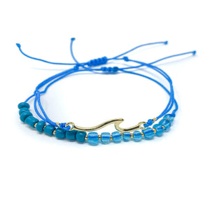 Wave beach bracelet beaded and string Blue