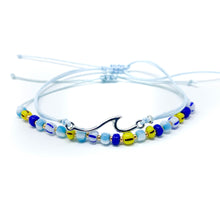 Load image into Gallery viewer, Wave beach bracelet beaded and string light blue