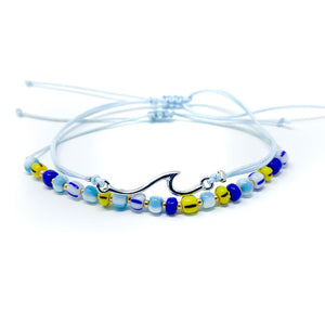 Wave beach bracelet beaded and string light blue