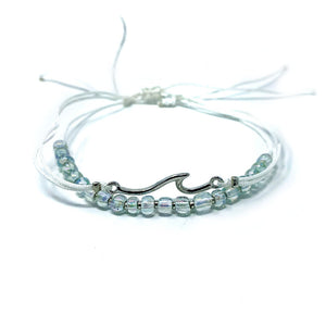 Wave beach bracelet beaded and string light pale green