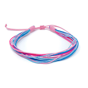 pink blue strings bracelet