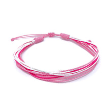 Load image into Gallery viewer, pink breast cancer awareness strings bracelets