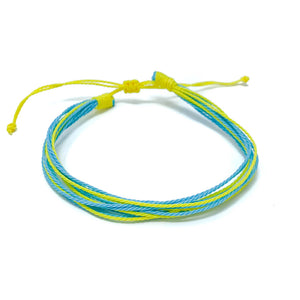 blue yellow string bracelet