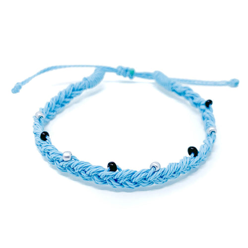 Blue Beaded Braid Single Bracelet