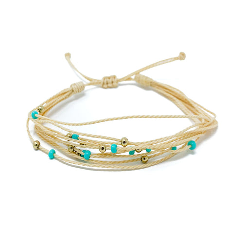 Tan Beaded String Bracelet
