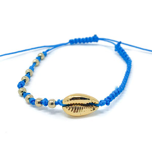 Gold Cowrie Charm Beaded Bracelet Blue