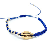Load image into Gallery viewer, Gold Cowrie Charm Beaded Bracelet Blue