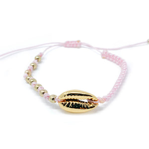 Gold Cowrie Charm Beaded Bracelet Pink