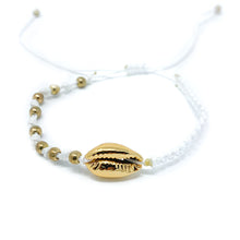 Load image into Gallery viewer, Gold Cowrie Charm Beaded Bracelet White
