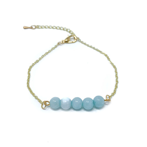 Beads on Gold Chain Dainty Bracelet Blue