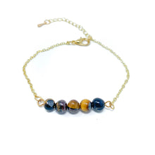 Load image into Gallery viewer, Beads on Gold Chain Dainty Bracelet Tiger Eye